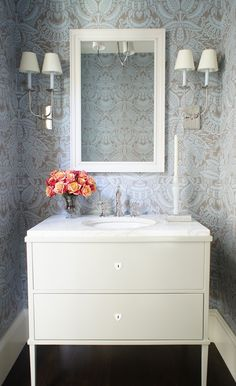 Powder room vanity, paper, sconces