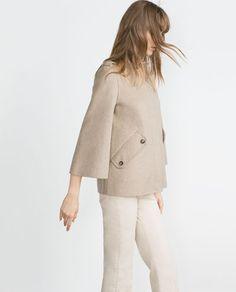 Image 3 of HANDMADE CAPE SLEEVE COAT from Zara