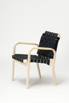 """Name: Armchair 45 by Alvar Aalto  Manufacturer: Artek  Notes: Naturally lacquered bent birch frame, seat & back use linen webbing/(quilted black) canvas or leather. Rattan, black leather windings, or black leather cover for armrests. Seat 1' 4.9"""", overall height 2' 8.3"""", width 2', depth 1' 11.6""""."""