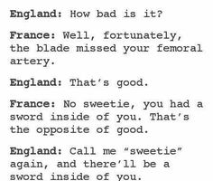 England is a savage, even when there's a sword sticking through him (also I don't ship it I'm USUK all the way)
