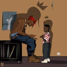 Tupac passes the rap movement to Kendrick Lamar! Arte Do Hip Hop, Hip Hop Art, Cartoon Kunst, Cartoon Art, Art Black Love, King Kendrick, To Pimp A Butterfly, Tupac Art, Trill Art