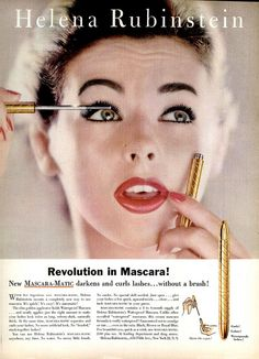 A terrific example of the generous use of eye make-up that populated glamorous ads and magazine spreads of the late 50s. #fifties #mascara #1950s #vintage #ad #makeup #cosmetics