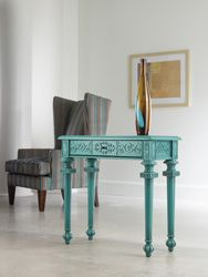 Adding unique accent pieces, in brilliant colors, are part of creating a cottage charm.  > Home Furniture | Living Room Accent Furniture | Melange | Tyfani Accent Console - By Hooker Furniture