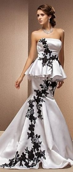 Black and White wedding dress - ultimate sophistication at the #CityClubLA #weddingtrend