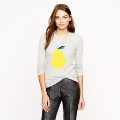 I'm usually not one to like graphics on my clothing, but this pear sweater has a great color combo.  From J. Crew