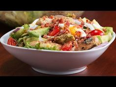 Easy and delicious! This honey mustard chicken, Bacon & avocado salad recipe is for you healthy/not-so-healthy Bacon Addicts! If you HAVE to eat a vegetable, you might as well add Bacon! Avocado Salad Recipes, Bacon Avocado, Bacon Salad, Food Network Recipes, Cooking Recipes, Healthy Recipes, Healthy Foods, Honey Mustard Chicken, Tasty Videos