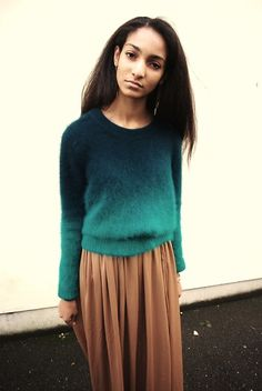 I love the look of a maxi skirt with a sweater so cute