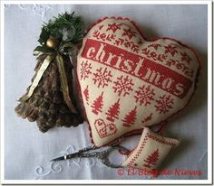 Thrilling Designing Your Own Cross Stitch Embroidery Patterns Ideas. Exhilarating Designing Your Own Cross Stitch Embroidery Patterns Ideas. Xmas Cross Stitch, Cross Stitch Christmas Ornaments, Christmas Hearts, Just Cross Stitch, Cross Stitch Finishing, Cross Stitch Heart, Cross Stitch Samplers, Noel Christmas, Cross Stitching