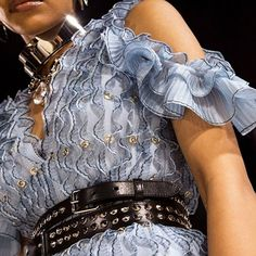 """Alexander McQueen: """"A poet blue frilled knit dresses constructed with functioning plackets fastened by silver metal buttons, worn with a studded double belt. Fashion Illustration Sketches, Alice Mccall, Textiles, Sewing Accessories, Fashion Essentials, Metal Buttons, Winter Collection, Knit Dress, High Fashion"""