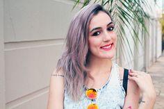 granny hair - cabelo cinza - make up - maquiagem - sombra marrom - batom rosa - pink lips - piercing - white skin - summer make up