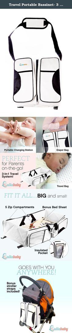 """Travel Portable Bassinet- 3 in 1 Diaper Bag, Travel Crib, & Portable Changing Station With Bonus Bed Sheet & Stroller Attachment,Perfect Baby Travel Accessory & Travel Baby Bed For Girls & Boys. """"No more changing in yucky bathroom wall changers. We can safely change our babies diapers where ever we go...even discreetly in restaurants :) customer service and product 10 out of 5 stars!!"""" """"I purchased this for my daughter's baby shower and she and all the participants at the shower loved it!..."""