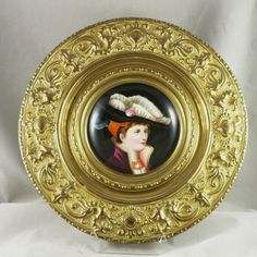 Hand Painted Enamel Portrait in Embossed Brass Frame 19th Century France