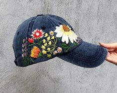 Hand embroidered hat Embroidered flower hat Embroidery hat  624b1cc9788