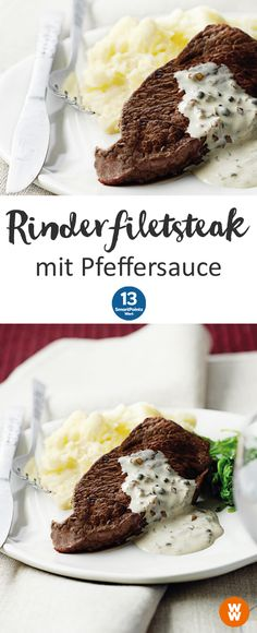 Rinderfiletsteak mit Pfeffersauce | 2 Portionen, 12 SmartPoints/Portion, Weight Watchers, fertig in 35 min.