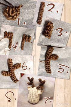 Tutorial 3^ passo renna Rudolph amigurumi crochet uncinetto natalizio. Le corna.