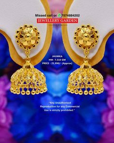Gold Bangles Design, Gold Earrings Designs, Gold Jewellery Design, Necklace Designs, Ring Designs, Gold Jewelry, Indian Jewelry Earrings, Gold Jhumka Earrings, Gold Necklace