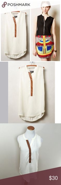 Anthro Sunday in Brooklyn Ivory Anhinga Tunic S Anthropologie Sunday in Brooklyn Ivory Anhinga Sleeveless Tank Tunic Small. Excellent condition! Clean and comes from smoke free home. Questions welcomed. *Note: I do have this in black as well. Anthropologie Tops Tunics