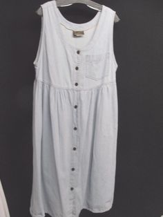 $12.99 VINTAGE Blue Light Denim Jean Dress Button Down Sleeveless Pockets 100% Cotton #TicketsClothing #Sundress #Casual . .......... We are TOP RATED * POWER Sellers on EBAY * Selling WORLDWIDE. Visit us at our EBAY STORE * 4COOLSTUFF2BUY with any questions or items for sale, PRICING, DISCOUNTS & SALES.- C241