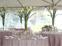 Simple arum lilly centrepieces