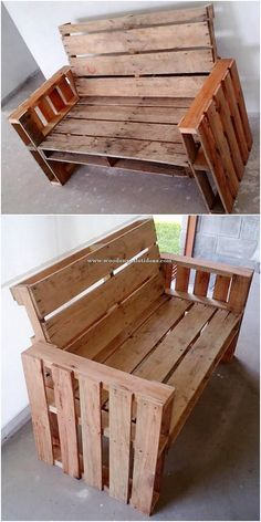 Use Pallet Wood Projects to Create Unique Home Decor Items – Hobby Is My Life Diy Pallet Sofa, Wooden Pallet Projects, Wooden Pallets, Pallet Furniture, Industrial Furniture, Rustic Furniture, Furniture Making, Cool Furniture, House Furniture