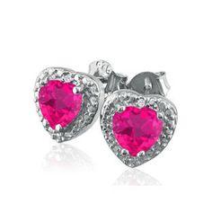 925 Sterling Silver Diamond Pink Sapphire Heart Stud Earrings