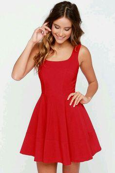 vestido rodado decote quadrado, vermelho