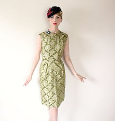 1950's DressVINTAGE Wiggle Green Brocade Floral by HighHatCouture, $60.00