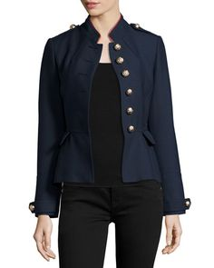 BURBERRY Huntingdale Military Button Jacket, Ink Blue. #burberry #cloth #