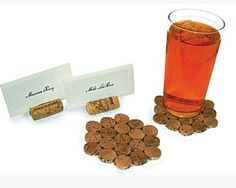 Coasters and placecard holders from used wine corks