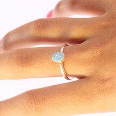 Natural Blue Australian Opal Ring