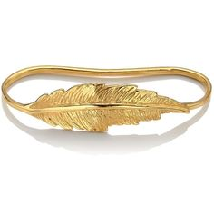 LeiVanKash Gold Feather Hand Cuff (£360) ❤ liked on Polyvore featuring jewelry, bracelets, accessories, gold, gold jewelry, gold jewellery, gold bracelet, feather bracelet and handcuff jewelry