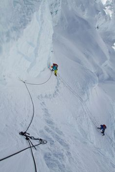 om Dispatch #35: The Penultimate Push  POSTED MAY 15, 2012  The South Col Five make their way up the fixed ropes to Camp 3.