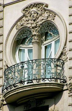 ⌖ Architectural Adornments ⌖ ornate building details - Art Nouveau Window in Valencia, Spain