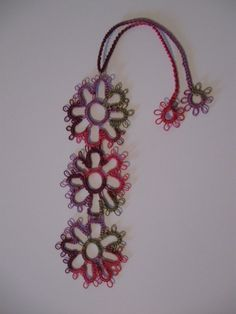 Pretty Flowers Tatted Bookmark
