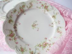 Vintage Haviland Limoges Pink Rose Luncheon Plates by thechinagirl