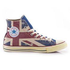 sports shoes 395c1 529b0 Baskets Converse Chuck Taylor All Star Uk Flag Hi Montantes à Lacets Toile  Drapeau Anglais Homme