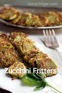 Zucchini Fritters via @spinachtiger.com