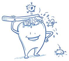Vektor: DruckCute cartoon tooth cleaning himself with a brush, scaring off the bacteria. Hand drawn line art cartoon vector illustration.