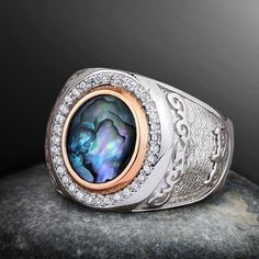 Sterling Silver Ring Gift for Him, Multicolor Natural ABALONE Ring Men's, Silver Large Band Ring, Mens Signet Wedding Ring happy lovegold Sterling Silver Diamond Rings, Silver Rings With Stones, Mens Silver Rings, Silver Man, Silver Diamonds, Sterling Silver Necklaces, Silver Earrings, Gemstone Rings, Earrings Uk