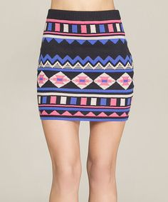 Look at this #zulilyfind! Black & Pink Tribal Bodycon Skirt by Flying Tomato #zulilyfinds