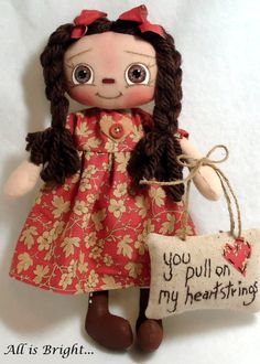 You Pull On My Heartstrings Cadence -  Raggedy Doll by Allisbright on Etsy, $34.00