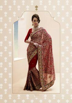 USD 99.36 Maroon Resham Work Faux Georgette Wedding Saree  32448