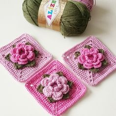 "Crochet Granny Square ""Rose"" step-by-step tutorial ༺✿ƬⱤღ✿༻"
