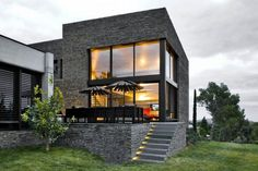 Ideas Natural Grey Exterior Facade Modern Terrace With Modern Windows And Door Can Add The Modern Touch Inside Room With Green Grass In Front Of The House Awesome Exterior Facade Modern Terrace