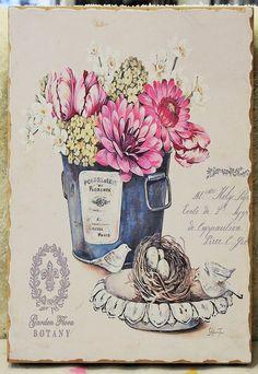 cuadro estilo vintage flores. 6,90€