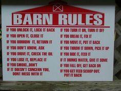 Barn rules!!