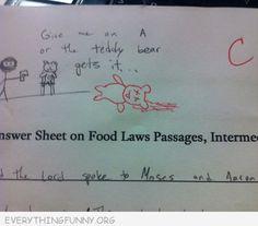 funny test answer teacher give me an a or the bear gets it teacher draws dead bear