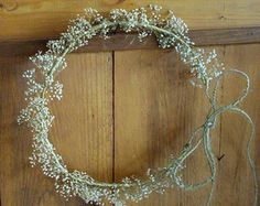 country bride headpiece, wedding accessories babys breath halo, flower girl gyp flower crown, rustic spring hair accessory hippie headwreath