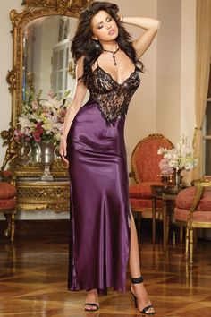 Look glamorous and sexy in this Satin Charmeuse Full Length Gown. Satin charmeuse full length bias cut gown with sequin trimmed scalloped lace triangle bra and front inset, sexy side slit, ultra low back with crisscross adjustable straps. Lingerie Gown, Jolie Lingerie, Women Lingerie, Sexy Lingerie, Honeymoon Lingerie, Pretty Lingerie, Beautiful Lingerie, Satin Gown, Satin Dresses