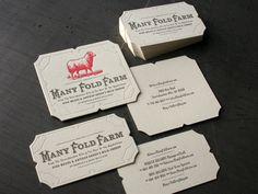 Many Fold Farm letterpress business cards